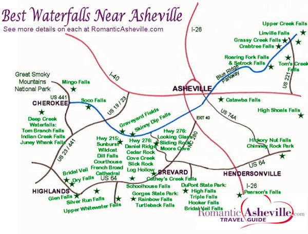 Asheville Nc Waterfall Map