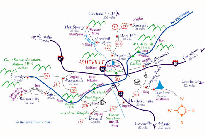 Asheville North Carolina Maps - Map of n carolina