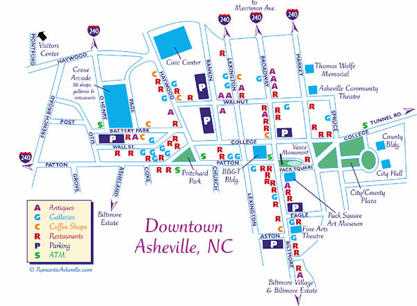 Map Asheville Nc Downtown Asheville NC Map