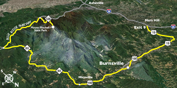 Mt Mitchell Scenic Byway Map
