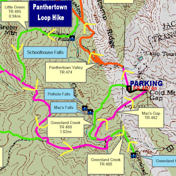 Panthertown Valley Loop Hike Map