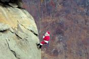 Santa on the Chimney at Chimney Rock State Park