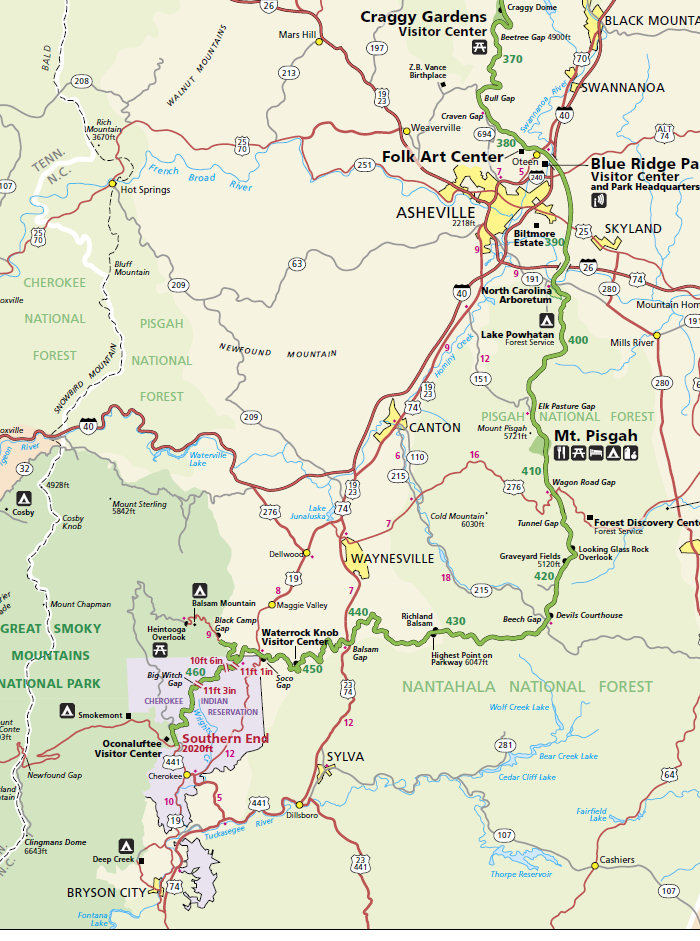 Blue Ridge Parkway Map With Mile Markers Blue Ridge Parkway Map, NC