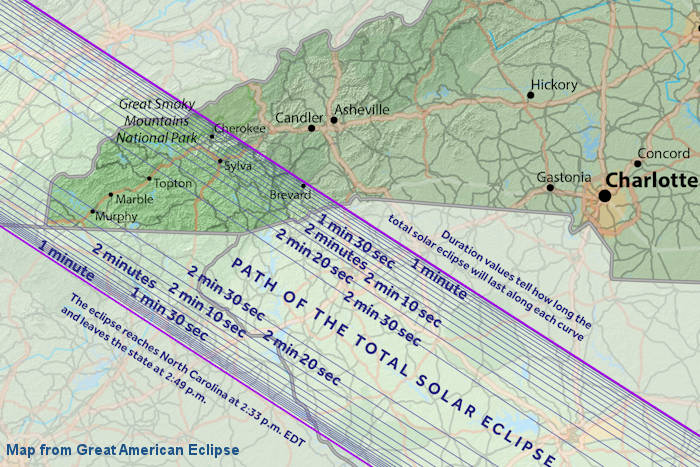 Solar Eclipse 2017 Places To Watch near Asheville