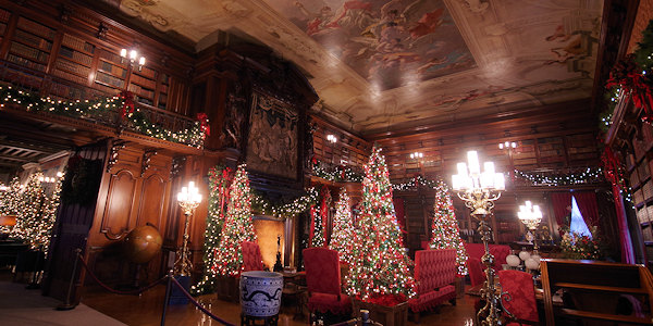 Biltmore House Library at Christmas