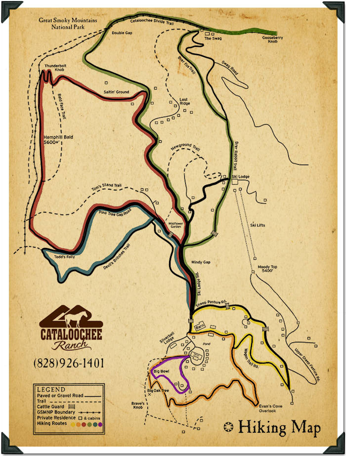 Hiking Trails Map, Cataloochee Ranch NC