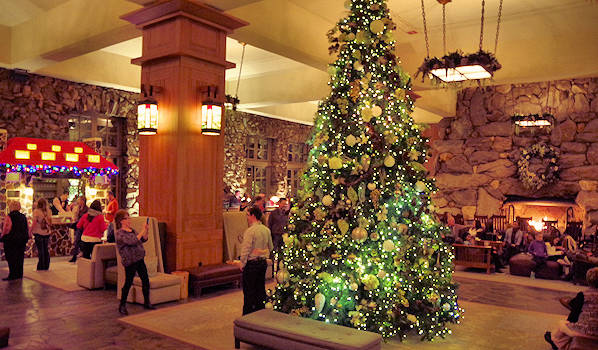 Grove Park Inn Christmas Lobby Fireplace