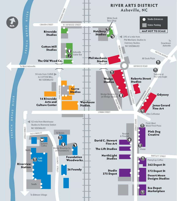 River Arts District Map, Asheville