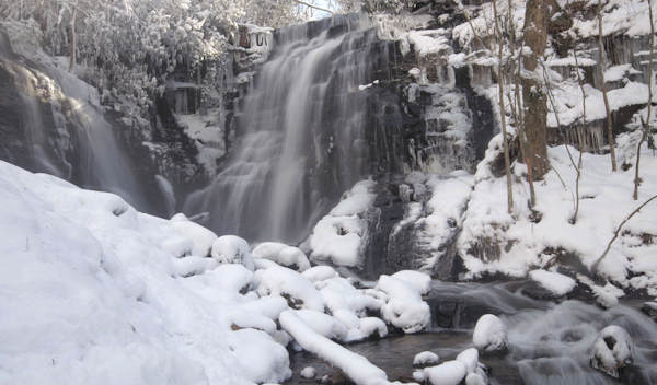 Soco Falls NC in Snow