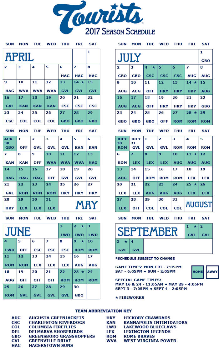 Asheville Tourists Schedule